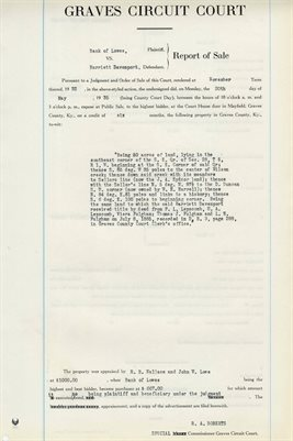 1935 COMMISSIONERS REPORT OF SALES, BANK OF LOWES VS. HARRIETT DAVENPORT