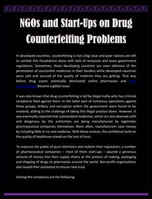 NGOs and Start-Ups on Drug Counterfeiting Problems