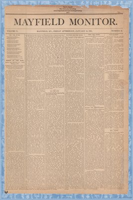 (PAGES 1-2) Mayfield Monitor, Jan. 16, 1885, Graves County, Kentucky
