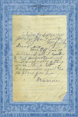 1905 Dr. Sisson, Cuba, Graves County, Kentucky, Recommending a patient be sent to Hopkinsville Mrs. Puff(?)