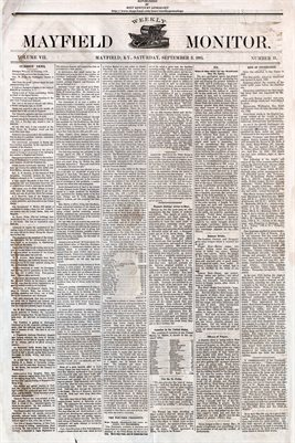 (PAGES 1-2) SEPTEMBER 03, 1881 MAYFIELD MONITOR NEWSPAPER, MAYFIELD, GRAVES COUNTY, KENTUCKY