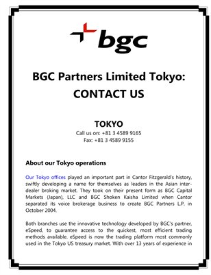 BGC Partners Limited Tokyo: CONTACT US