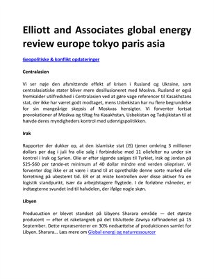 Elliott and Associates global energy review europe tokyo paris asia