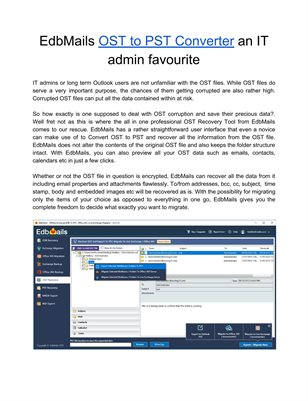 EdbMails OST to PST Converter an IT admin favourite