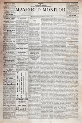 (PAGES 1-2) AUGUST 14TH, 1880 MAYFIELD MONITOR NEWSPAPER, MAYFIELD, GRAVES COUNTY, KENTUCKY