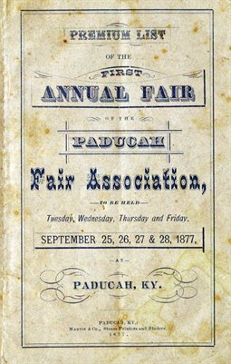 1877 Premium List of the First Annual Fair of the Paducah Fair Association