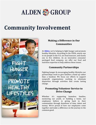 The Alden Group Inc: Community Involvement