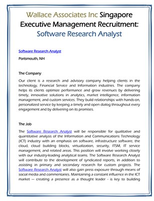 Wallace Associates Inc Singapore Executive Management Recruitment: Software Research Analyst