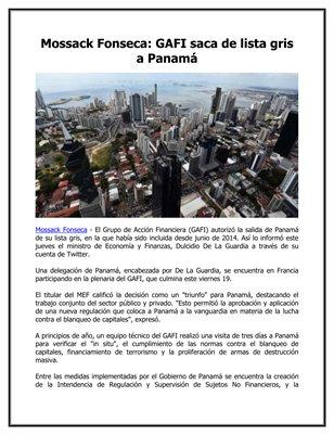 Mossack Fonseca: GAFI saca de lista gris a Panamá