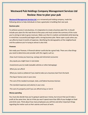 Westward Pub Holdings Company Management Services Ltd Review: How to plan your pub