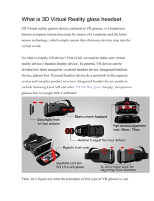 What is Virtual Reality 3D glass headset