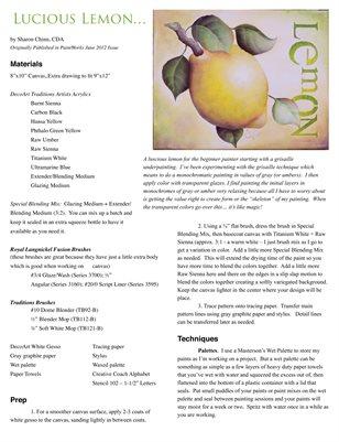 Lucious Lemon Painting Pattern Tutorial by Sharon Chinn SC00268