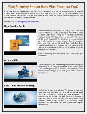 Visa Security Sense: How Visa Protects You?