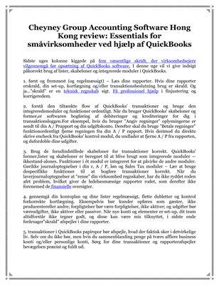Cheyney Group Accounting Software Hong Kong Review: Essentials for småvirksomheder ved hjælp af QuickBooks