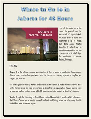 Where to Go to in Jakarta for 48 Hours - July 15th