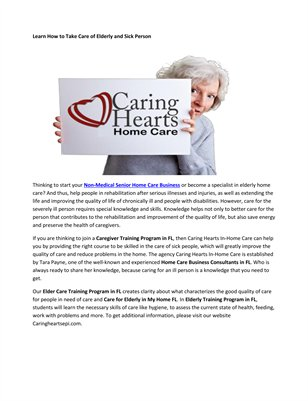 Elder Care Training Programs FL