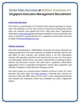 Senior Sales Executive at Wallace Associates Inc Singapore Executive Management Recruitment