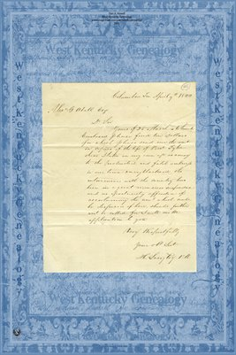 1844 Columbia, Tennessee Letter to Alex. G. Abell