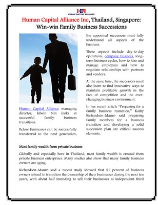 Human Capital Alliance Inc, Thailand, Singapore: Win-win Family Business Successions