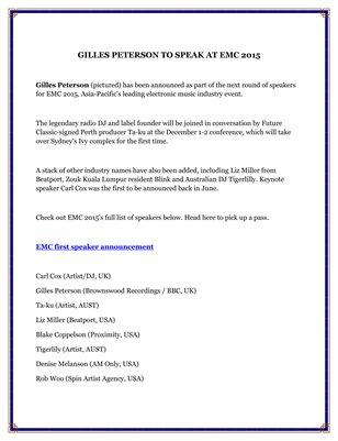 GILLES PETERSON TO SPEAK AT EMC 2015