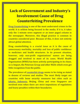 Lack of Government and Industry's Involvement Cause of Drug Counterfeiting Prevalence