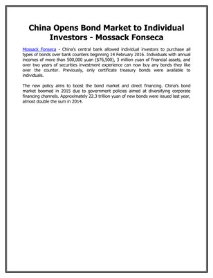 China Opens Bond Market to Individual Investors - Mossack Fonseca