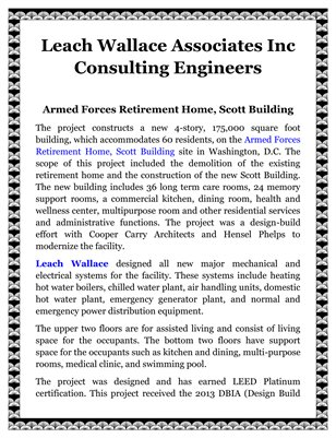 Leach Wallace Associates Inc Consulting Engineers: Armed Forces Retirement Home, Scott Building