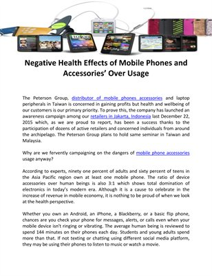 Negative Health Effects of Mobile Phones and Accessories' Over Usage