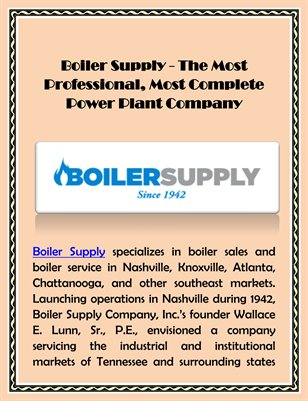 Boiler Supply - The Most Professional, Most Complete Power Plant Company