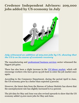 Credence Independent Advisors: 209,000 jobs added by US economy in July