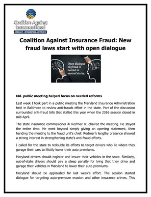 Coalition Against Insurance Fraud: New fraud laws start with open dialogue