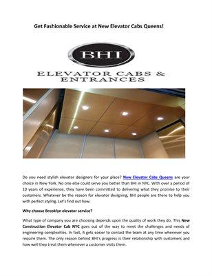 Elevator Cab Interior Design NYC