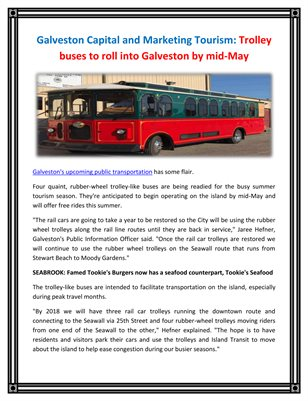 Galveston Capital and Marketing Tourism: Trolley buses to roll into Galveston by mid-May