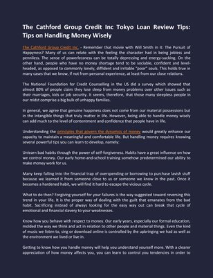 The Cathford Group Credit Inc Tokyo Loan Review Tips: Tips on Handling Money Wisely