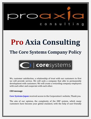 Pro Axia Consulting: The Core Systems Company Policy