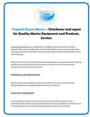 Tropical Ocean Marine - Distributor and agent for Quality Marine Equipment and Products, Services