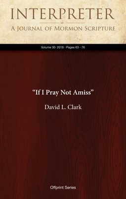"""If I Pray Not Amiss"""