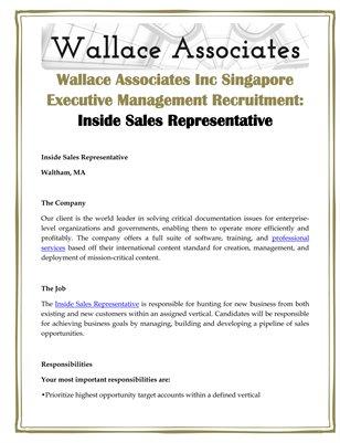 Wallace Associates Inc Singapore Executive Management Recruitment: Inside Sales Representative