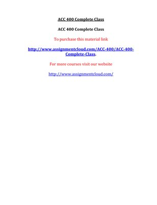 ACC 400 Entire Course NEW