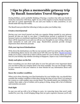 7 tips to plan a memorable getaway trip by Bacall Associates Travel Singapore