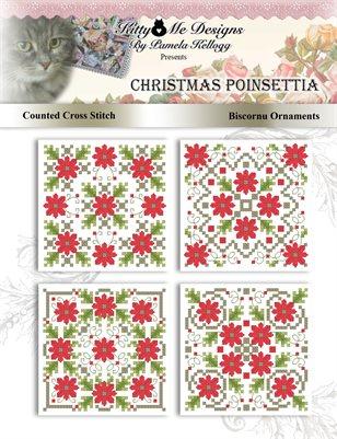 Poinsettia Biscornu Ornaments Counted Cross Stitch Pattern