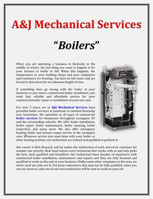 A&J Mechanical Services: Boilers