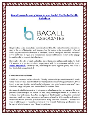Bacall Associates: 3 Ways to use Social Media in Public Relations