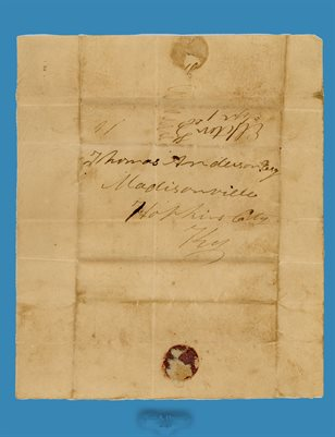 1824 THOMAS ANDERSON, MADISONVILLE, HOPKINS COUNTY, KENTUCKY LETTER