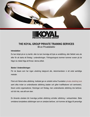 The Koyal Group Private Training Services: Bli en Privatdetektiv