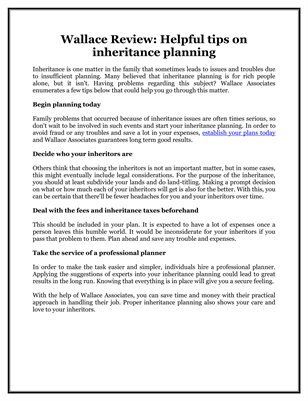 Wallace Review: Helpful tips on inheritance planning