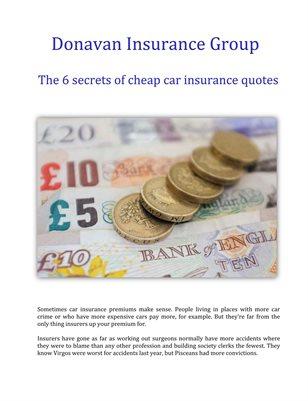 Donavan Insurance Group: The 6 secrets of cheap car insurance quotes