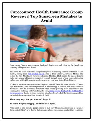 Careconnect Health Insurance Group Review: 5 Top Sunscreen Mistakes to Avoid