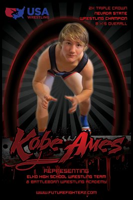 Kobe Ames Red Wrestling Poster