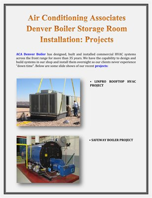 Air Conditioning Associates Denver Boiler Storage Room Installation: Projects